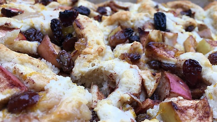 Close up of cooked apple dappy - raisins, scone dough and apple pieces