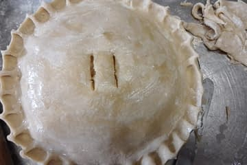Shortcrust pastry on a pie pre-cooked