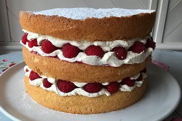 Raspberry cream sponge whole on white plate