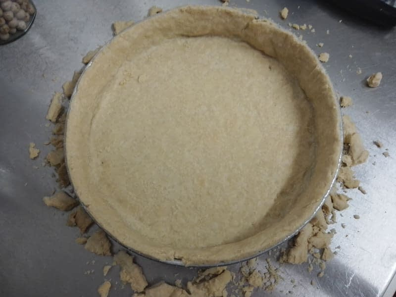 Pastry cooked and edges trimmed